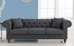 Fabric Chesterfield Sofa Bed Stratford Classic Grey Fabric Chesterfield Sofa Sofamania