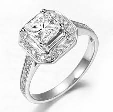 princess cut engagement rings with halo lovely halo wedding ring 1 00 carat princess cut on gold