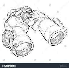 binoculars black white sketch bitmap copy stock illustration