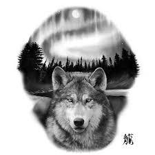 alaskan timberwolf set against borealis country tattoos