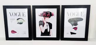 set of 3 vintage vogue covers designer timber framed prints or