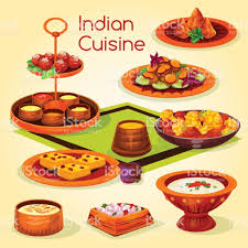 de cuisine indienne déjeuner de cuisine indienne avec licône de dessin animé de