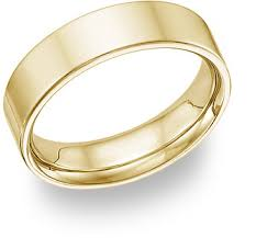 gold band 14k yellow gold flat wedding band ring 6mm