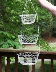 Shabby Chic Wire Baskets by Large Vintage Painted Wire Collapsible Hanging Basket Trio