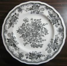 butterfly platter black grey toile butterfly poppy bird vintage plate large