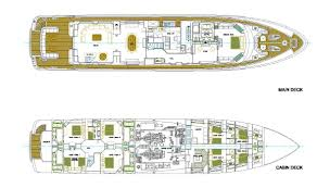luxury yacht charter cracker bay layout main and lower deck
