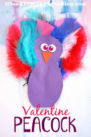 valentine peacock kid craft glued to my crafts