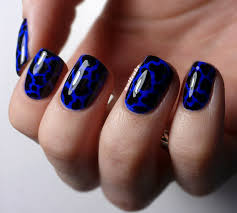 nail cake blue u0026 black splodges cow print nail art