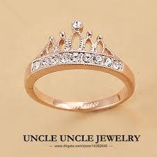 finger ring designs for gold color rhinestones retro princess crown design