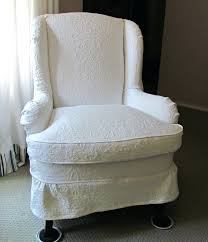 Wing Chair Cover White Wingback Chair Cover Wing Slipcover Grey Denim Back 1658