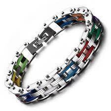 fashion bracelet silicone images Rainbow steel chain bike gear bracelet lgbt gay and lesbian jpg