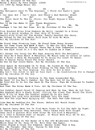 pete seeger song all my children of the sun lyrics and chords