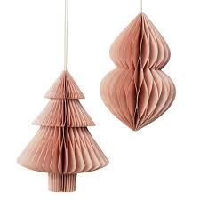 trouva broste copenhagen large dusty pink paper decoration