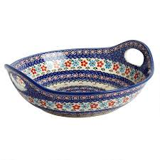 floral pottery serving bowl with handles