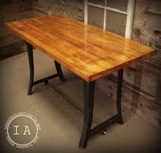 maple butcher block table top vintage industrial work bench table desk cast iron machine legs