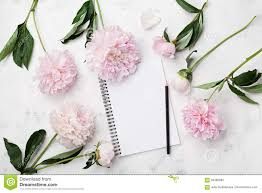 wedding planning notebook empty notebook for wedding planning pencil and pink peony flowers