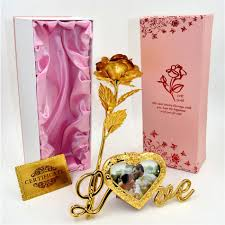 Gold Rose 2017 Wholesale 24k Gold Foil Plated Rose Gold Rose With Love Stand