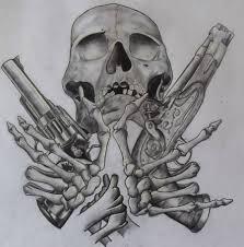 gun skull n guns design tattooshunter com