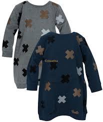mocha noir girls x patterned long sleeve shirt dress wa7cp629d