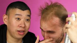 balding men try spray on hair youtube