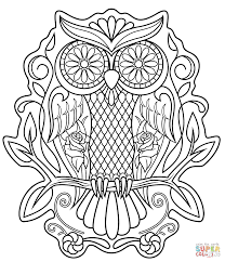 sugar skull owl coloring page free printable coloring pages