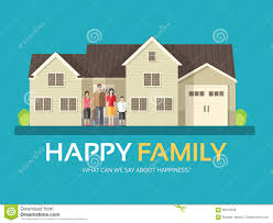 House Flat Design by Happy Family In Flat Design Background Concept Mom Dad Son And