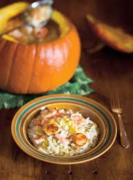 cuisiner citrouille risotto à la citrouille et aux fruits de mer ricardo