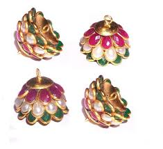 pachi earrings pachi jhumka base multicolors size 19x14 mm pack of 5 pairs