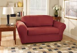 Red Loveseat Sure Fit Stretch Suede Box Cushion Loveseat Slipcover U0026 Reviews