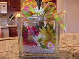 How To Decorate Glass Blocks Fill Them With Flowers And Glass Stones Its Endless What You Can
