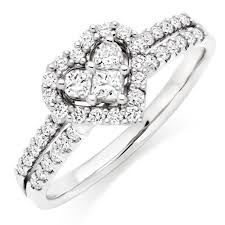 diamond ring 18ct white gold heart shaped diamond ring 0009868 beaverbrooks