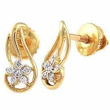 real gold earrings avsar real gold and diamond traditional earring ave051 gold