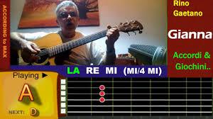 testi accordi chitarra rino gaetano chitarra tutorial tab accordi how to play