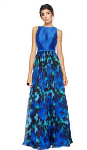 midnight blue floral gown theia couture hire dresses