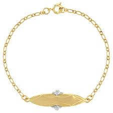 childrens gold bracelets 18k gold plated two tone identification tag id bracelets children s gi