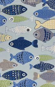 Fish Area Rugs Light Blue Sea Of Fish Hooked Area Rug