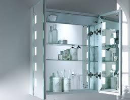 illuminated bathroom cabinet with shaver socket