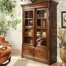 Bookcase With Glass Doors White by Furniture White Wooden Glassdoor Bookcase Combine With Brown