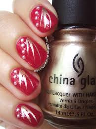 chinese new year nail art red gold and pearls just a bit