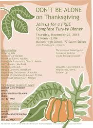 malden annual thanksgiving dinner open to all nov 26 san org