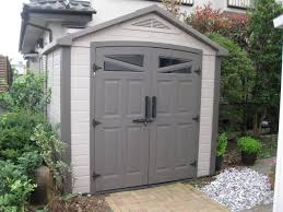 decor grey wooden backyard sheds costco for garden tools storage