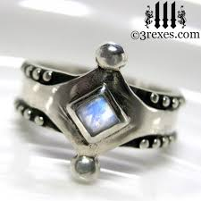 Moonstone Wedding Ring by Majestic Medieval Gothic Silver Wedding Ring