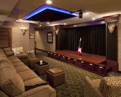 exposed stone wall basement home theater ideas simple wall