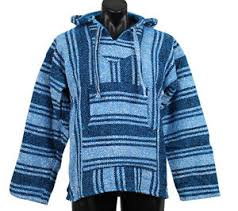 genuine mexican baja hoodie turquoise pullover jacket unisex s m l