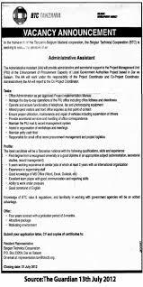 Job Description For Project Coordinator Administrative Assistant Tayoa Employment Portal