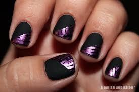 a polish addiction matte black and purple zebra stamping nail art