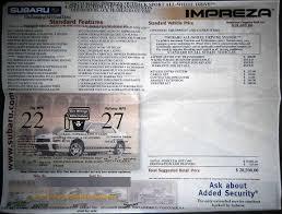 subaru window decals subaru window stickers monroney labels various years models