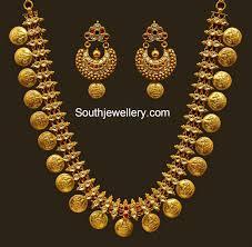 Buy Kasu Mala Lakshmi Ji Lakshmi Kasulaperu Necklace And Chandbalis Gold Pinterest