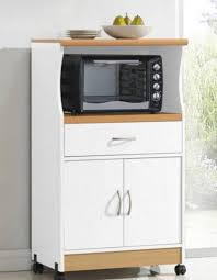 Microwave Stand Microwave Cart With Hutch Doors Cabinet Storage White Wood Mobile