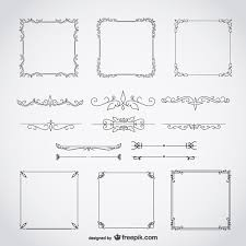 calligraphic frames decorative floral set vector free